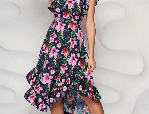 StarShinerS DPA32BHQ, rochie asimetrică cu volănașe, mâneci scurte și imprimeu floral