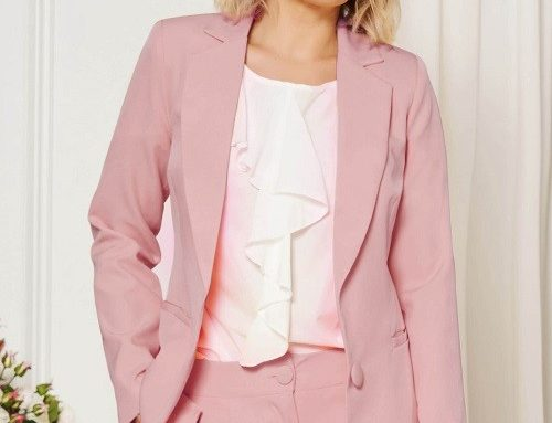 Sacou pentru femei StarShinerS BDA52G office roz cambrat pe corp și guler îndoit