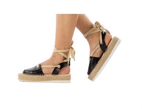 Elara TQE95H, sandale pentru femei casual negre cu platformă și șiret pe picior