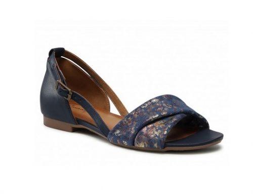 Sandale Maciejka de damă casual bleumarin din piele naturală cu toc plat și model floral