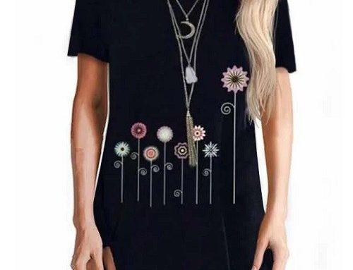 Tricou de damă lung Kenzia subțire și lejer negru asimetric cu imprimeu