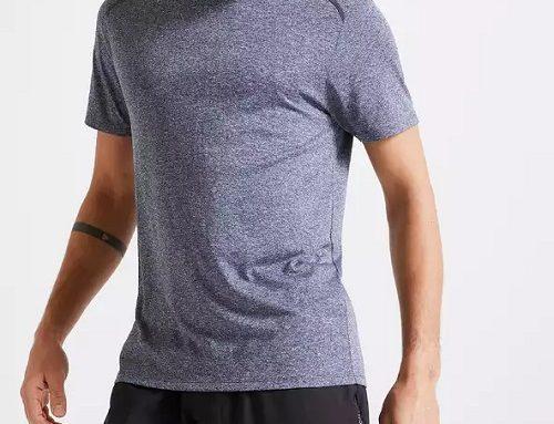 Tricou subțire Domyos lejer pentru bărbați gri de fitness, cardio