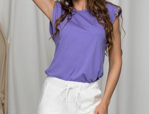 Tricou de damă UMSQ2BL Tania din bumbac mov clasic și simplu cu aplicații aurii la mâneci