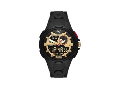 Ceas sport Puma pentru bărbați cu afișaj analog și digital, negru, 3 ATM, carcasă rotundă
