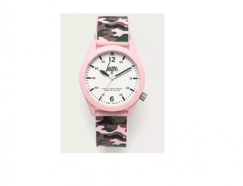 Ceas sport QLX32H Hype de damă roz cu brățara cu imprimeu militar camuflaj și carcasă rotundă