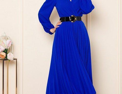 Rochie albastră office Malina din voal plisat cu decolteu în V petrecut și jupon