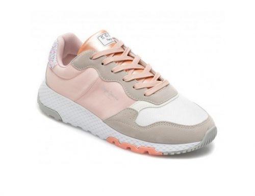 Pantofi sport albi DFL53HZ Pepe Jeans de damă din material textil cu talpă cu spumă EVA