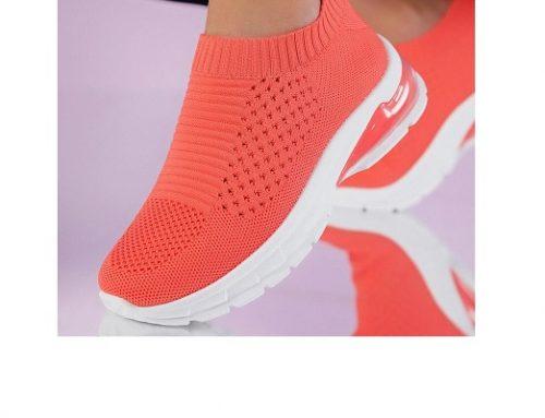 Tenida LF32QM, pantofi sport pentru femei corai din material textil cu talpă joasă