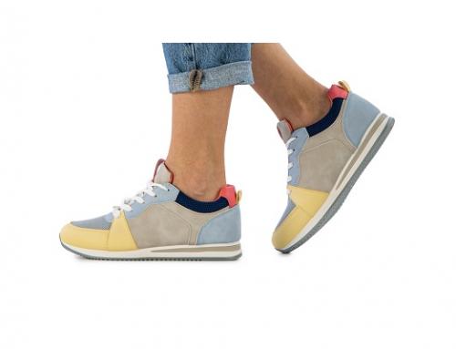 Pantofi sport KL43DP Sidney pentru femei cu talpă plată, albaștri, din piele ecologică