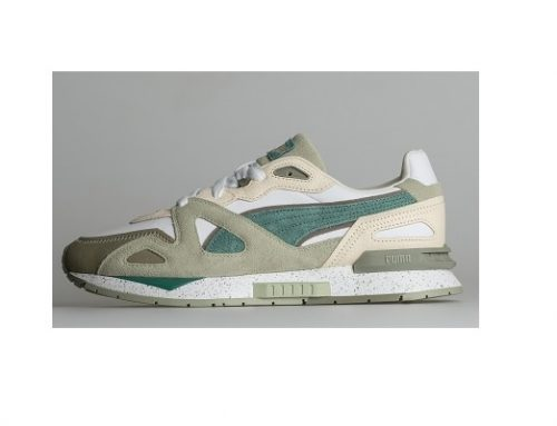 Puma BE32GHQ Mirage, pantofi sport pentru bărbați din piele naturală întoarsă, verzi, cu talpă plată