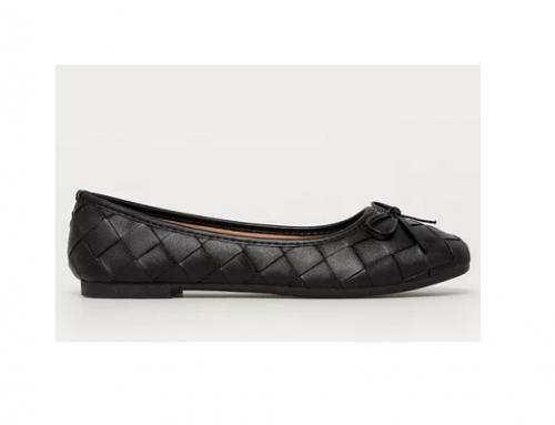 Balerini negri Answear Lab pentru femei casual cu talpă joasă și toc plat