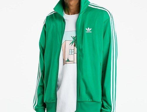 Bluză de trening Adidas Firebird pentru bărbați verde cu fermoar, buzunare și tiv elastic