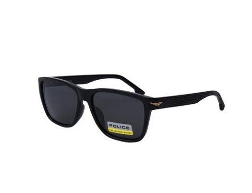 Ochelari de soare Police pentru bărbați polarizați cu lentile gri și rama rectangulară