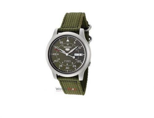 Ceas WMQE2T Seiko pentru bărbați Automatic, SNK805K2, verde, cu brățara din material textil