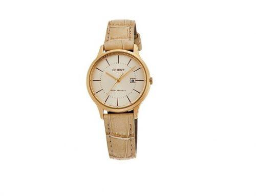 Orient MTQ4DY, ceas de damă casual auriu cu brătara din piele naturală, 3ATM, Quartz