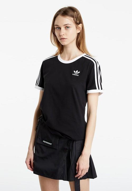 Tricou de damă sport Adidas de vară din bumbac subțire negru cu logo brodat