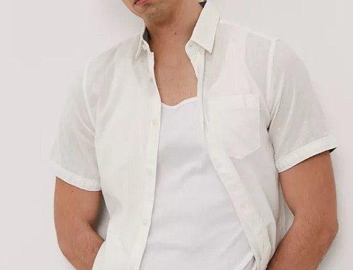 Cămașă albă Tom Tailor pentru bărbați vaporoasă din in și bumbac lejeră cu mâneci scurte