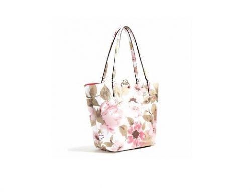 Geantă de umăr Guess pentru femei cu imprimeu floral multicolor și buzunar detașabil