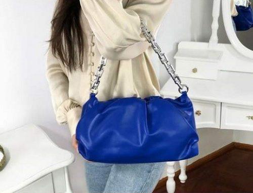 Geantă de umăr LFH3BQ Scarlet de damă casual albastră cu lanț metalic argintiu