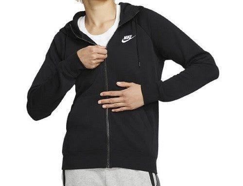 Jachetă sport ELQ4SL Nike de damă lejeră neagră, din bumbac, cu glugă și buzunare