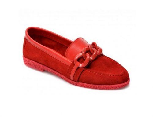 Mocasini Flavia Passini UWQ52TL pentru femei roșii din piele naturală întoarsă cu toc plat