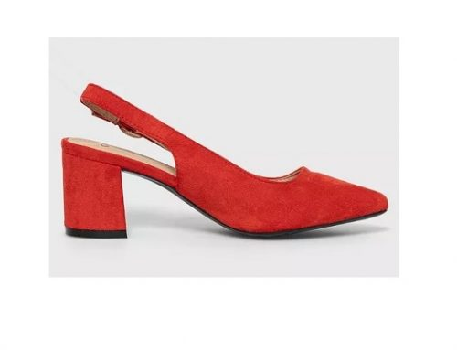 Answear Lab BQE34YT, pantofi de damă office din piele întoarsă eco roșii, cu toc gros și vârf ascuțit
