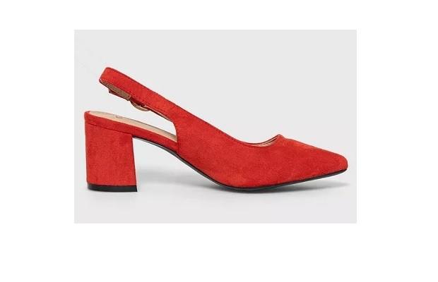 Pantofi de damă Answear eleganți de primăvară roșii cu toc masiv, vârf ascuțit, din imitație de piele întoarsă