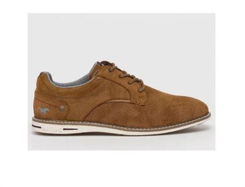 Pantofi pentru bărbați MDQ2FL Mustang casual maro din piele naturală întoarsă cu talpă plată