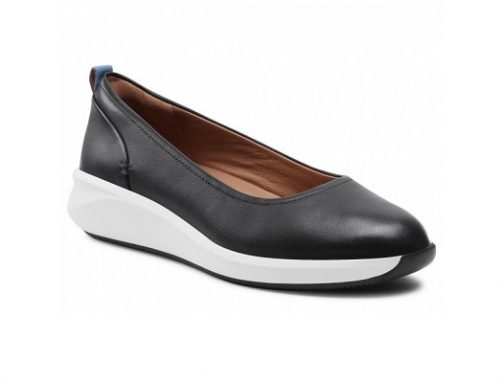 Pantofi Clarks Un Rio de damă din piele naturală negri cu platformă și talpă plată