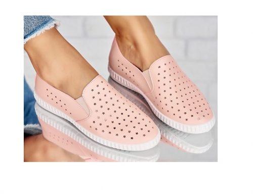 Pantofi WLHE42Q Annette pentru femei roz cu talpă joasă, toc plat și perforații