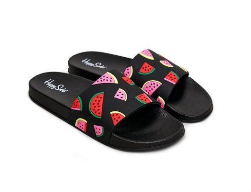 Happy Socks BEQ42Y, șlapi de plajă de damă negri cu imprimeu cu pepeni și talpă plată
