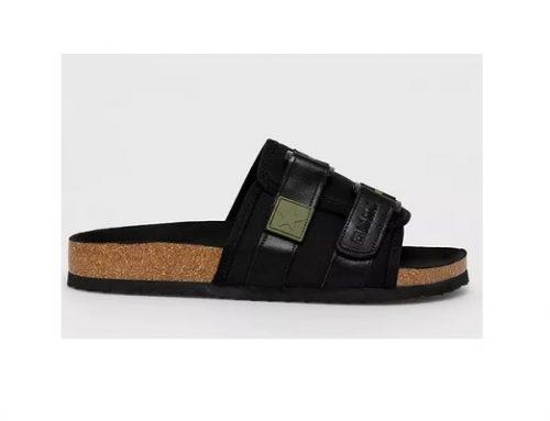 Papuci Big Star de stradă pentru bărbați, negri, din piele naturală, cu talpă plată