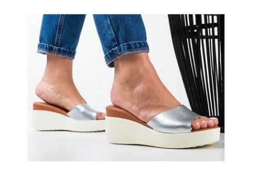 Papuci de stradă Ferima cu platformă pentru femei argintii din piele ecologică
