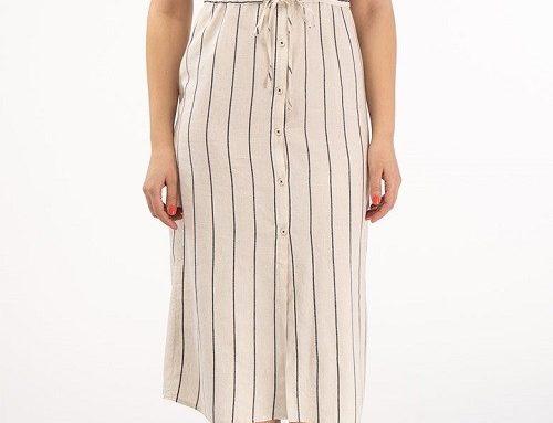 Rochie CMS53GD Kenvelo stil cămașă dreaptă, din bumbac vaporos, cu dungi și buzunare