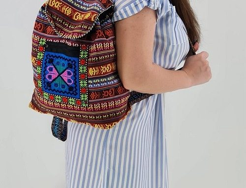 Rucsac cu motive tradiționale EDL43Q Adelina de damă multicolor din material textil