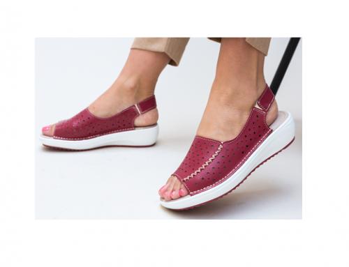 Sandale pentru femei Lindone SHN42Q din piele naturală cu platformă și fără toc