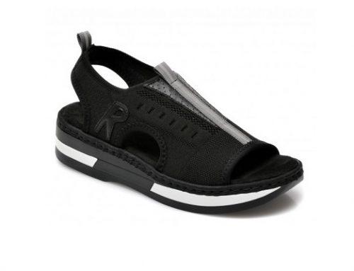 Reiker BL42QE, sandale de damă sport negre fără toc și cu talpă plată, din material textil
