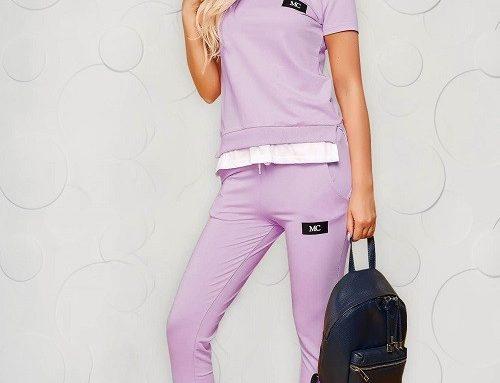 Trening de damă SunShine din bumbac subțire cu tricou lejer și pantaloni cu talie medie