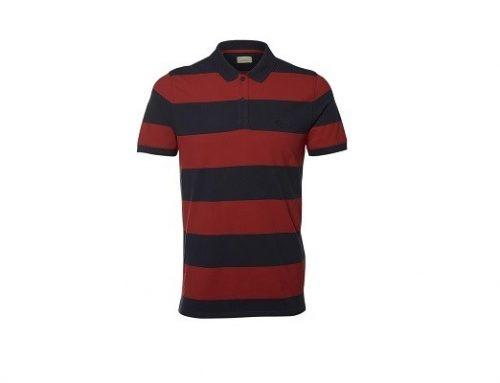 Selected WLE34LQ, tricou pentru bărbați roșu casual din bumbac cu imprimeu în dungi