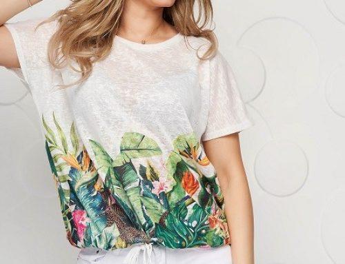 Tricou Top Secret de damă alb semi-transparent subțire și lejer, cu imprimeu floral