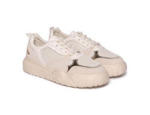 Pantofi sport de damă EKFD3L Xandra bej clasici cu talpă plată, din piele ecologică