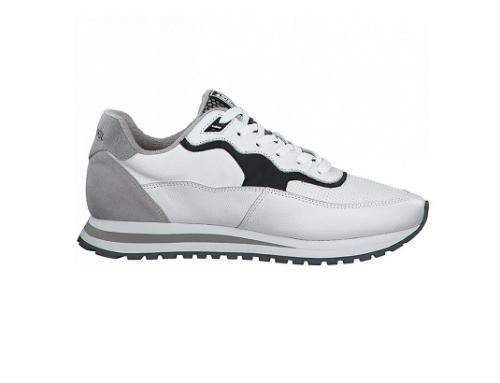 s.Oliver QSELKB, pantofi sport albi pentru bărbați din piele cu talpă plată și plasă de aerisire