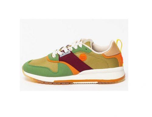 Scotch & Soda LDKS2L, pantofi sport de damă multicolori cu talpă plată și inserție de piele întoarsă