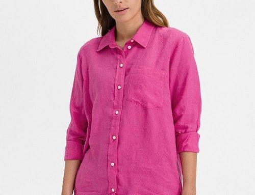Gap DLLFMQ, cămașă de damă roz din in vaporoasă și subțire dreaptă cu mâneci lungi
