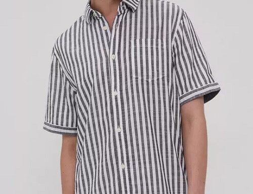 Tom Tailor DMLDK, cămașă în dungi bărbați din bumbac subțire cu mâneci scurte
