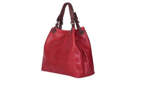 Natalie VLKH3SQ, geantă de damă roșie din piele naturală cu model șarpe și buzunare interioare