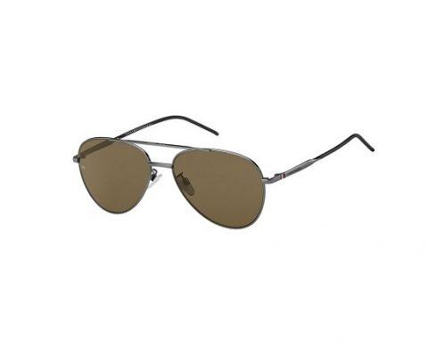 Tommy Hilfiger BKLB3Z, ochelari de soare bărbați stil Aviator polarizați cu lentile maro și rama din metal