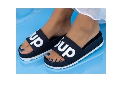 MeiMei BSKL3Q, papuci de damă de stradă și plajă negri cu talpă plată și cu spumă