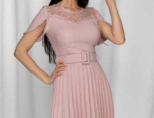 Dejavu LKFLSQ, rochie de seară roz cu decolteu cu dantelă, mâneci scurte și curea în talie