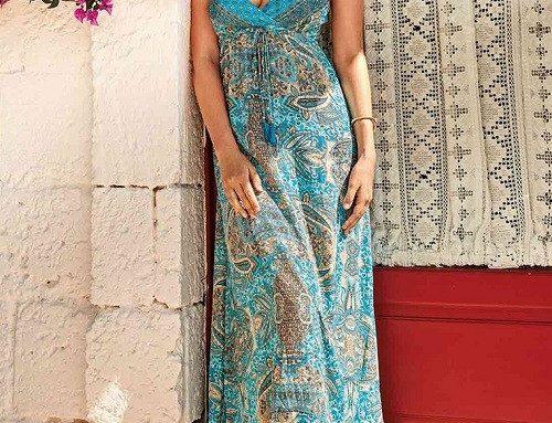 Rochie de plajă Avalon lungă din pânză vaporoasă multicoloră cu bretele și imprimeu